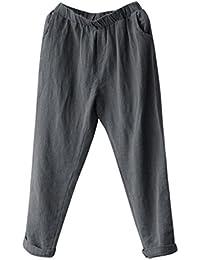 DAYLIN Pantalones Harem de Lino Mujer Casual Suelto Pantalones Anchos Talla  Grande 732f322a589a