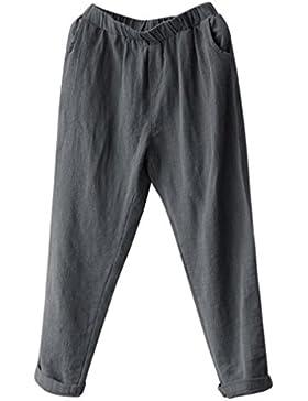 DAYLIN Pantalones Harem de Lino Mujer Casual Suelto Pantalones Anchos Talla Grande