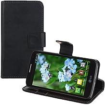 kwmobile Elegante funda de cuero sintético para el LG G2 Mini con cierre magnético y función de soporte en negro