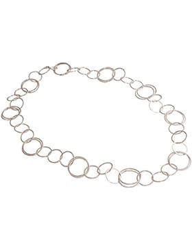 GEMSHINE 90 cm lange Damenhalskette in hochwertiger Mattverarbeitung in Silber. Längenverstellbare Kette. Made...