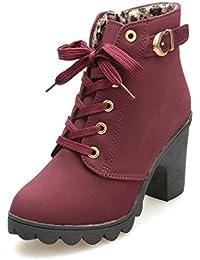5cdb9806b4e0 Leey Damen Stiefel High Heels Schuh Stiefeletten Damenstiefel Winterboots  Winterstiefel Westernstiefel Lederstiefel…