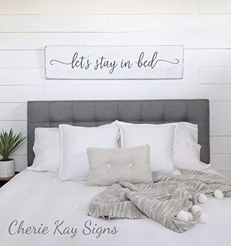 Signs Lets Stay In Bed Farmhouse Bedroom Wood Funny Farmhouse Wall Decor Rustic Wood Funny 24 X 5 7 Buy Online In Botswana At Botswana Desertcart Com Productid 105707993