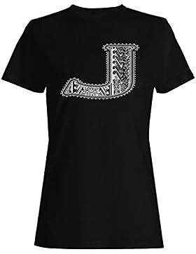 Letra j con dibujos abstractos divertido camiseta de las mujeres a402f