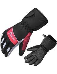 Esquí de mantener caliente frío guantes cuero puro cachemir cálido forro al aire libre par guantes , 2