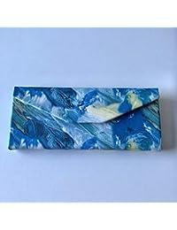 Funda para gafas, triángulo, plegable, funda rígida para gafas de sol 16.0x6.5x6.5cm azul