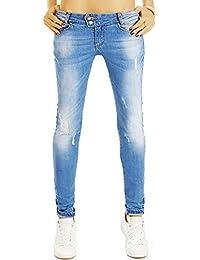 Bestyledberlin Damen Skinny Fit Jeans, Enge Hüftjeans, Used Look Röhrenjeans j30g