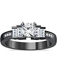 Silvernshine 1.35Ct Round & Buget Cut Clear Sim Dimoands 14K Black Gold Plated Engagement Ring