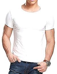 Camiseta negra ajustada de manga cortada con cuello redondo para hombre, de Butterme hombre Modal