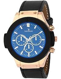 [Sponsored]THEODORE TDM16013 Premium Blue Glass Leather Strap Wrist Watch