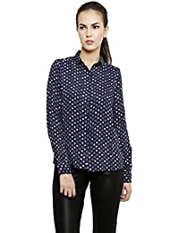 I AM FOR YOU Crepe Blue Star Printed Shirt with Full Sleeves For Women