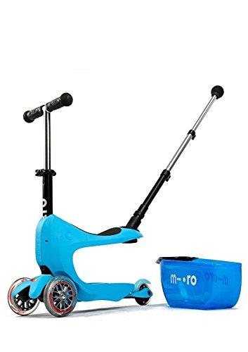 Micro Kinderroller Mini2Go Deluxe Kickboard mit Sitz und Schubfach in blau