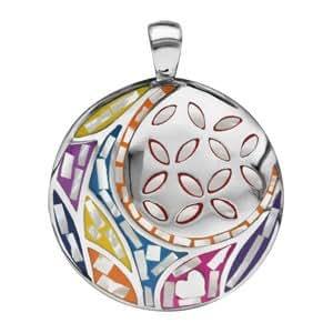 1001 Bijoux - Pendentif acier stella mia rond motif fleur couleur pastel avec nacre