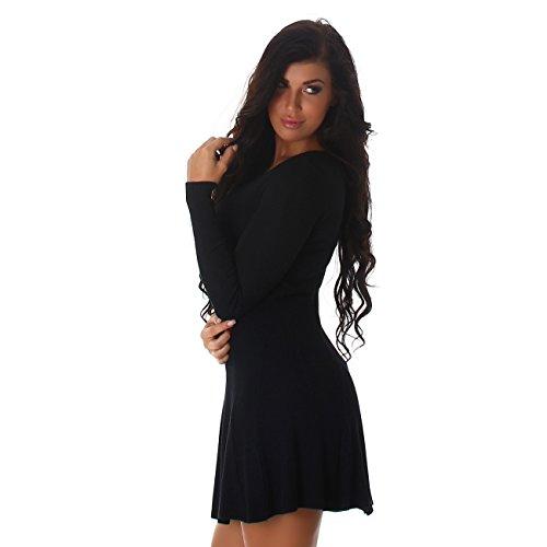 Voyelles Damen Kleid Strickkleid Pullover Pulloverkleid Pulli Longshirt Langarm Uni V-Ausschnitt Rippkleid Cocktail Partykleid Einheitsgröße Schwarz