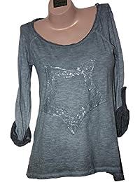 Rundhalsshirt mit Pailletten-Stern Vintage Look Damen Shirt One Size 36-40