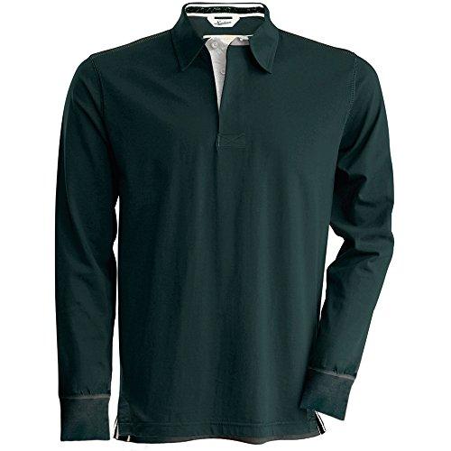 Kariban Vintage Mens Long Sleeve Rugby Shirt Vintage Charcoal