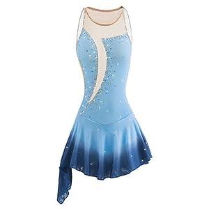 Handmade Eiskunstlauf Kleid für Mädchen Frauen Rollschuhkleid Wettbewerb Kostüm Professionelles ärmelloses Hellblau