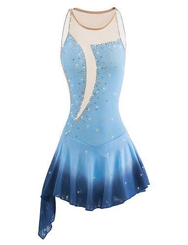 Handmade Eiskunstlauf Kleid für Mädchen Frauen Rollschuhkleid Wettbewerb Kostüm Professionelles ärmelloses Hellblau, 16