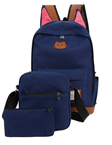 Moolecole Super Cute Cat Ears School Backpack Bag with Shoulder Bag & Pencil Case Pounch,3PCS Set Dark Blue