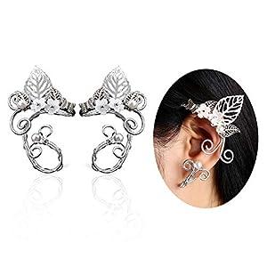 Aifeer Ohr-Manschetten im Elfen-Design, Filigranarbeit mit Perlen, handgemachter Modeschmuck für Elfen-Cosplays, Fantasy-Kostüme, 1 Paar