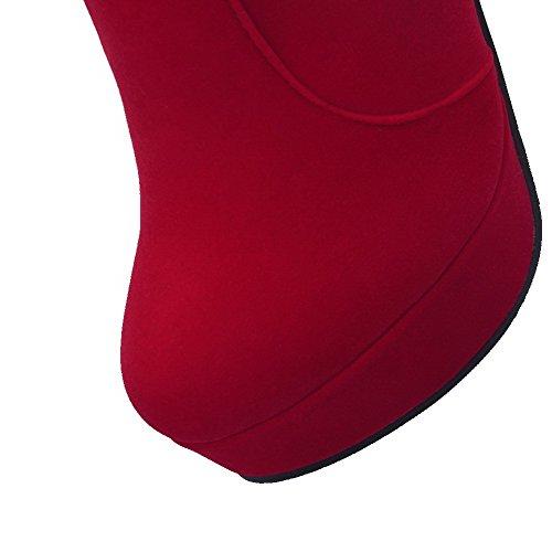 VogueZone009 Damen Niedrig-Spitze Rein Reißverschluss Hoher Absatz Stiefel Rot