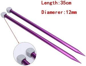 Lepakshi 12Mm 35Cm Length 2Pcs Single Poin Knitting Needles Pins Straight Aluminum DIY Weaving Too