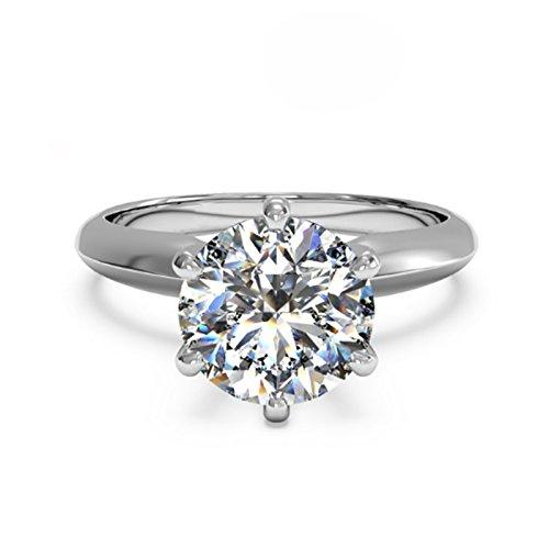 Runder Verlobungsring, 2 Karat Moissanit-Diamant, Kissenschliff, 14kt Weißgold, Größen 49mm, 50mm, 52mm, 53mm, 54mm, 55mm, 56mm,58mm, 59mm, 60mm, 61mm (J K L M N O P Q R S T) (Diamant-moissanite Ring)