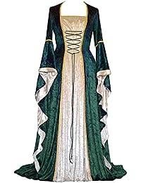 8a58052c1895 PengGengA Vestito Medievale Manicotto Allentato Benda da Donna Abito Lungo  retrò Costume di Halloween