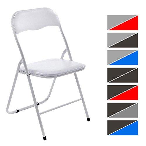 CLP Sedia pieghevole FELIX, sedia chiudibile con telaio in metallo, seduta in plastica imbottita, pratica sedia per gli ospiti, 8 colori a scelta bianco-bianco