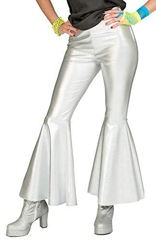 Hosen Kostüm Disco Damen - Trompetenhose Schlaghose Disco Fever - Silber Gr. 44/46