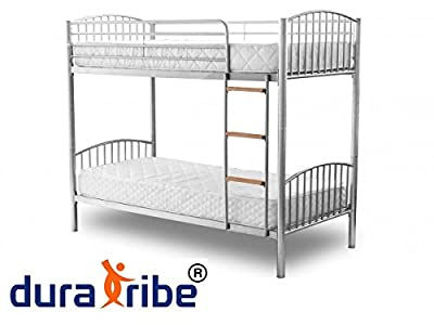DuraTribe Twin Sleeper Metal Bunk Bed Single Size 3FT in Silver Colour - Splits into 2 Single Beds - EN747 Certified - inexpensive UK Bunkbed store.