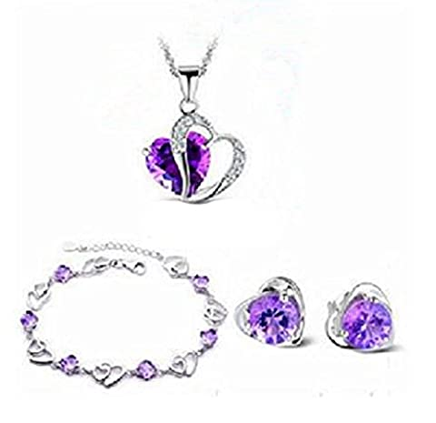 SaySure - Silver Plated Jewelry Set Cubic Purple Crystal Necklaces