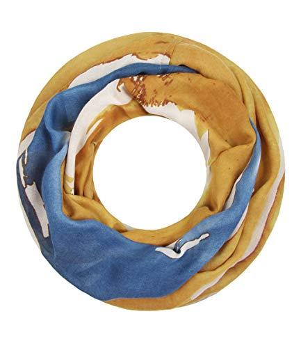 c27bb67991cf11 Majea Damen Loop Schal viele Farben tolle Muster Schlauchschal Halstücher,  Senf-gelb 17,