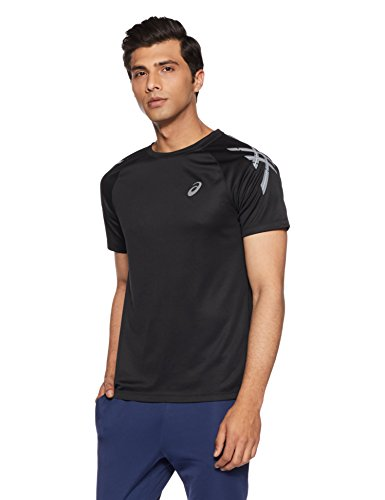ASICS Men's Plain Regular Fit T-Shirt (617A11.0904_Black_Small)