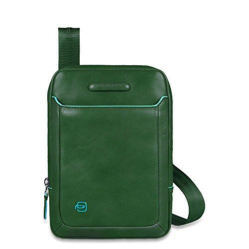Borsello Mini Uomo in Pelle Piquadro Verde Linea Blue Square - CA3084B2/VE4