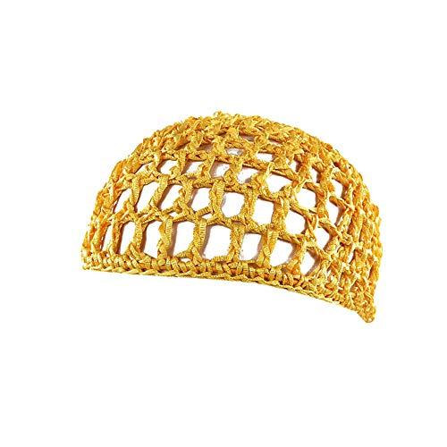 UJUNAOR Frauen Schlafmütze Handgemachte Gehäkelte Haarnetz-Taschennetz Gelockte Handhäkelarbeit Haar Mütze Nachtkappe(Gelb)