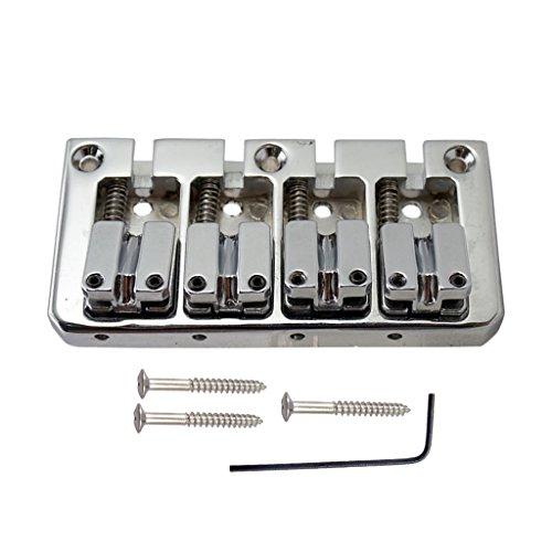 Sharplace Kit de Chevalet pour Guitare Électrique, Cordier de Guitare Basse 4 Corde - Argent