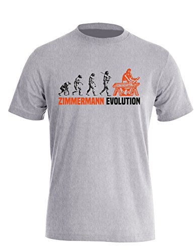 Zimmermann Evolution - Cooles Geschenk für Zimmerer - Herren Rundhals T-Shirt Grau/Schwarz-orange
