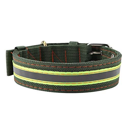 Hund Kragen, Reflektierendes Haustier-Hundehalsband Wasserdichtes Nylon-Material Einfache Steuerung Verstellbares Halsband Grün für große Hunde -