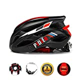 Bike Helmet Men, Ultra lightweight Adult Helmet with Adjustable Visor, CPSC Certified Cycle Helmet with Tail Light for Safety Protection 56-60