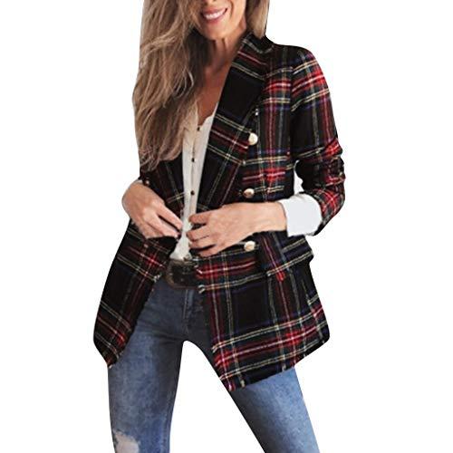LUGOW Damen Jacken Strickjacken Herbst und Winter Plaid Langarm Doppelseitige Kleidung Pullover Mantel Jacket Mäntel Outwear Günstig Mäntel Windjacke Coat Outwear(XX-Large,Rot) Plaid Trench Jacke