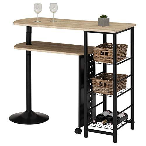 IDIMEX Bartisch Stehtisch Tresen JOSUA, in Sonoma Eiche/schwarz, mit Regal, Ablagen und schwenkbarem Tisch