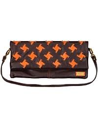4097a383bfd12 Goldmarie Handtasche Leder Muster Damen Schultertasche abnehmbaren  Taschenriemen als Clutch Tasche stylebar braun orange