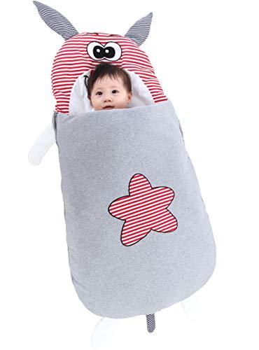 YANYINGBEIER Baby Schlafsack Baumwolle Cartoon Decke für alle Jahreszeiten Swaddle Wrap Super Süß - Rind Größe 85cm für 0-1 Jahre Alt