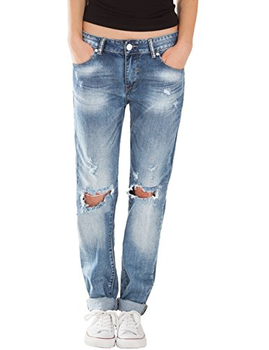 Fraternel Damen Jeans Boyfriend destroyed straight blau 42/XL