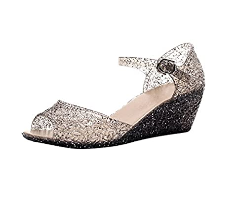 Womens Summer Sandals Peep Toe Wedge Heels Glitter Beach Jelly
