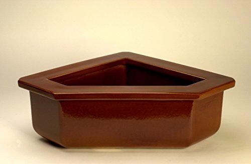 K&K Pferdetrog eckig / Ecktrog 74x54x23 cm (LxBxH) vollglasiert , braun, Steinzeug (Keramik)