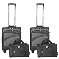 Ryanair MAXIMUM Hand Luggage 4 Piece Set �?? Aerolite 55x40x20cm Super Lightweight 2x Cabin 4 Wheel Spinner Suitcase Approved for Ryanair & Easyjet + 2x 35x20x20cm Ryanair Second Bag Holdall, Black �?? Carry on Both Bags! (2 x Black / 2 x Black)