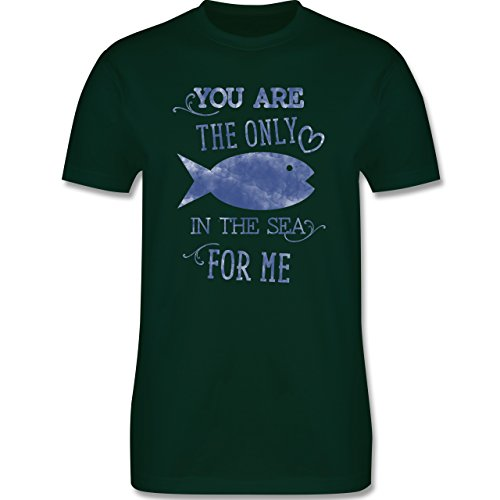 Statement Shirts - Your are the only fish in the sea for me - Herren Premium T-Shirt Dunkelgrün
