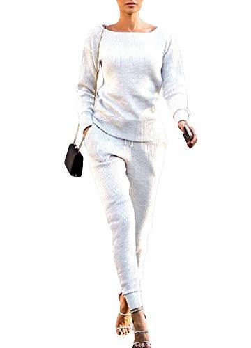 Romacci Damen Trainingsanzug Sweatshirt Lange Hosen Langarm Casual 2 Stück Set Sport Anzüge Streetwear (Damen 2 Anzug Stück Weiß)