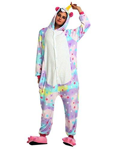 Pigiama coppie unicorn unisex cappuccio animali anime onesies kigurumi costume per adulti cosplay carnevale halloween natale (l, stella)